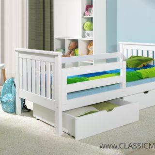 Łóżko do pokoju młodzieżowego Pati – Sosnowe z materacem i szufladami – Classic