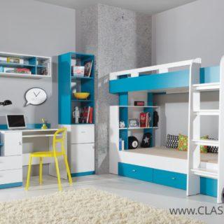 Meble Młodzieżowe Mobi z łóżkiem piętrowym 2 osobowym i biurkiem + 2 materace – Meblar