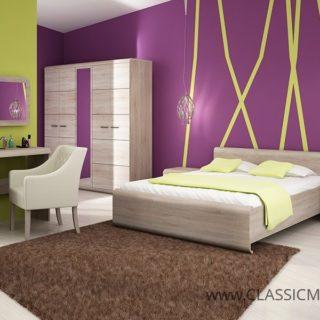 Sypialnia Link 1  + Stelaż + Materac – Dąb Sonoma – Laski