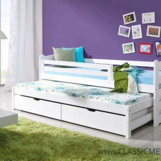 Łóżko parterowe Mili 2 osobowe Sosnowe z materacami + szuflady – 80 x 200 cm – Classic