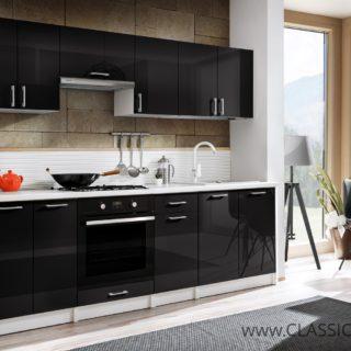 Meble Kuchenne Max Czarny Połysk 2,4 m + Dodatkowe elementy