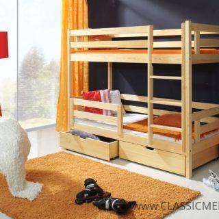 Łóżko piętrowe Artur 2 osobowe Sosnowe z materacami + szuflady 80 x 200 cm – Classic