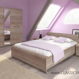 Sypialnia Link 2 Stelaż + Materac – Dąb Sonoma – Laski
