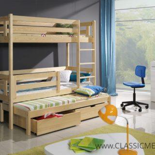 Łóżko piętrowe Bartek 3 osobowe Sosnowe z materacami + szuflady – Classic