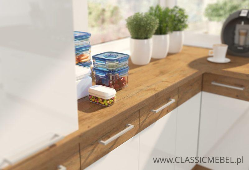 Kuchnia Vigo biały połysk/dąb lancelot duży zestaw - Lempert