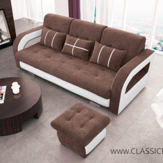 Sofa NINA z pufą – 3 z funkcją spania z pojemnikiem – Kinas