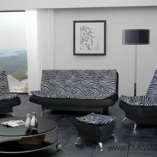 Zestaw Kasia z fun. spania +2 Fotele + Pufa – Arkos