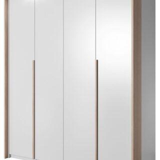 Szafa Xelo 185 cm Biała / Dąb Craft Złoty z oświetleniem