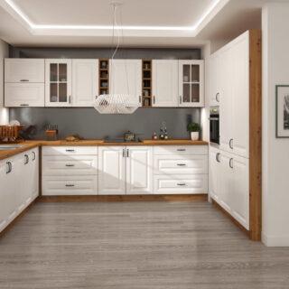 Meble Kuchenne W Stylu Skandynawskim Stilo Biały / Dąb Artisan